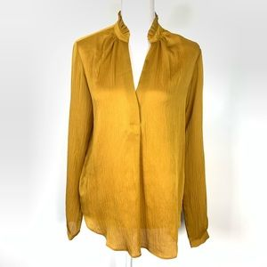Ann Taylor   NEW Gold Mustard Yellow Career Blouse
